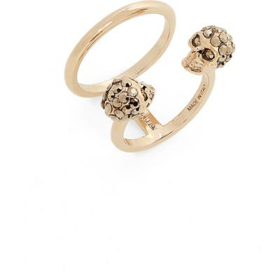 Alexander Mcqueen Twin Crystal Skull Double Band Ring