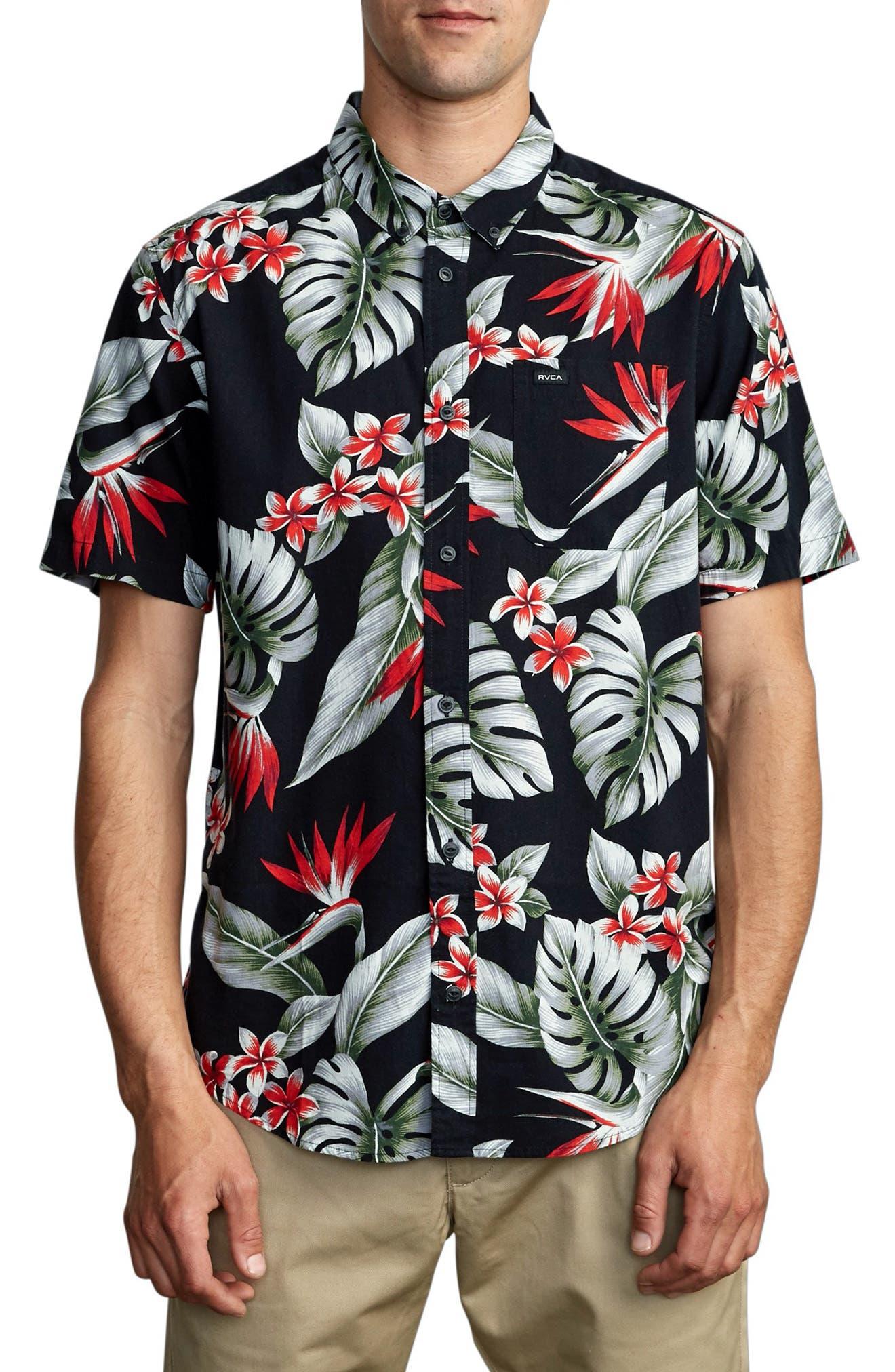 Men s Rvca Montara Print Short Sleeve Button Down Shirt