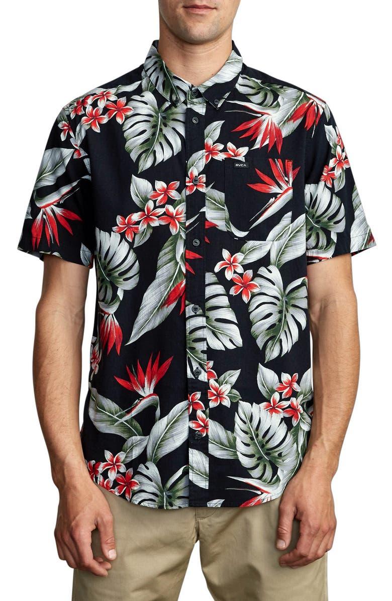 RVCA Montara Print Short Sleeve Button-Down Shirt, Main, color, BLACK