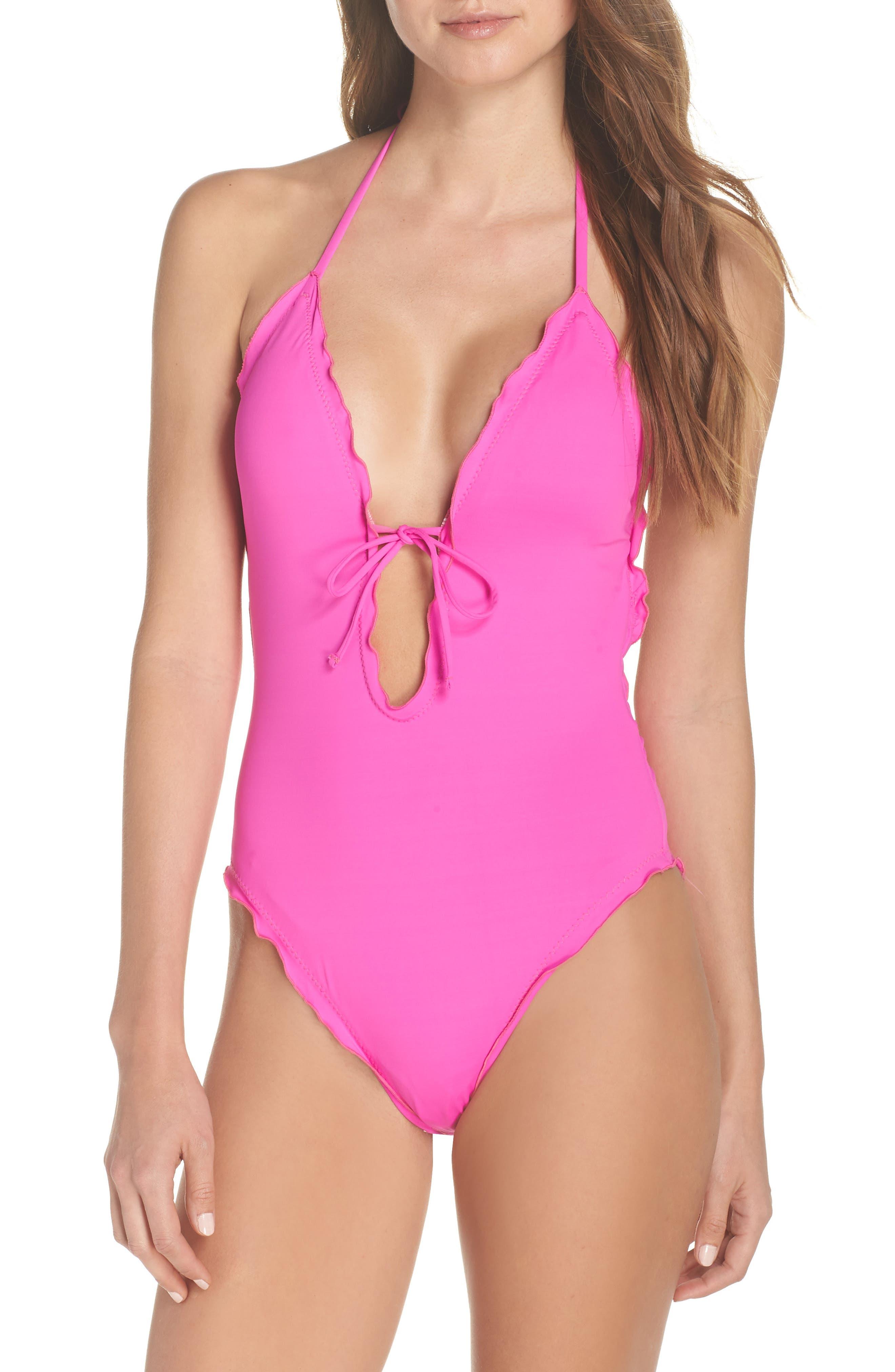La Blanca Island One-Piece Halter Swimsuit, Pink