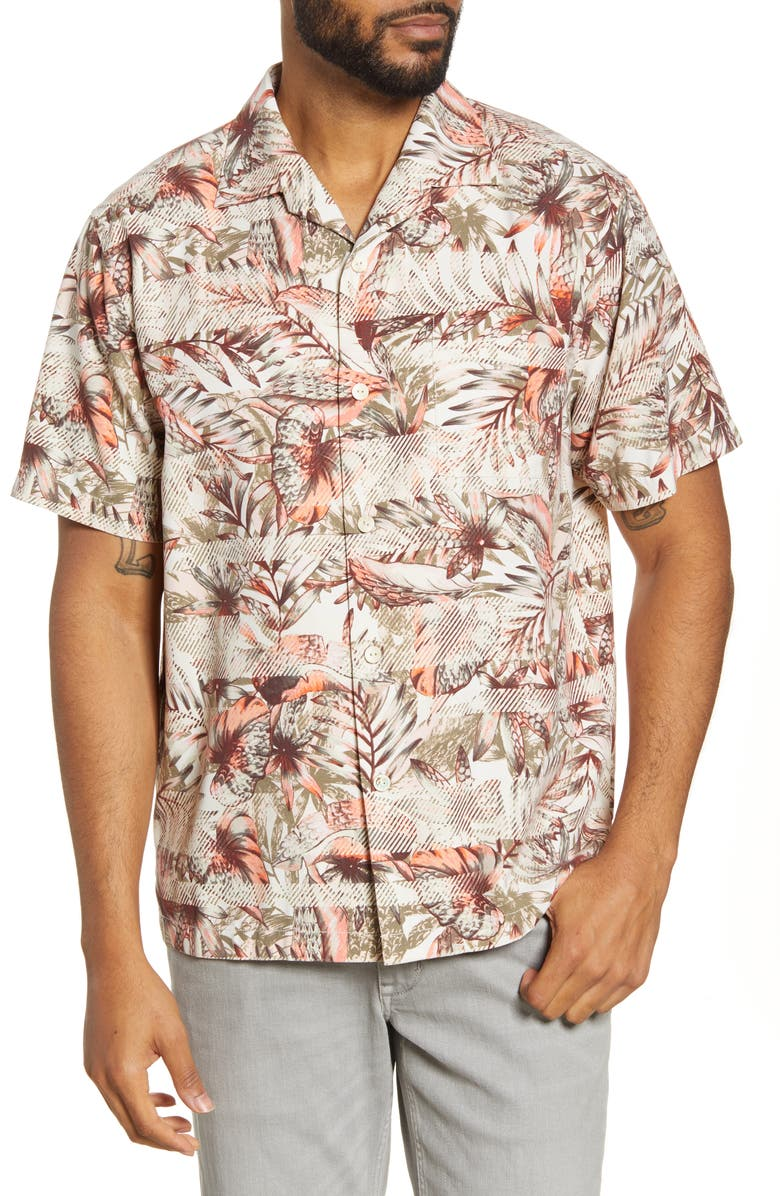 TOMMY BAHAMA Malibu Peach Classic Fit Short Sleeve Silk Blend Button-Up Camp Shirt, Main, color, MALIBU PEACH