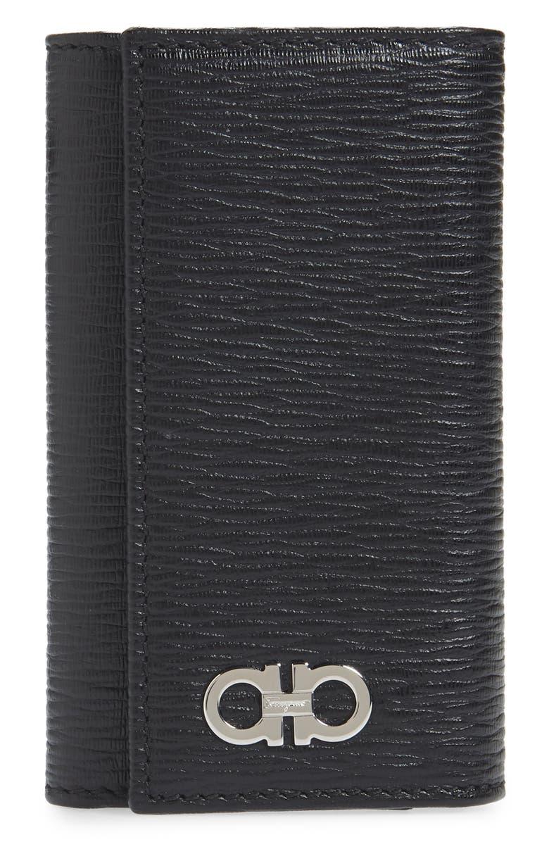 SALVATORE FERRAGAMO Revival Leather Key Holder, Main, color, 001
