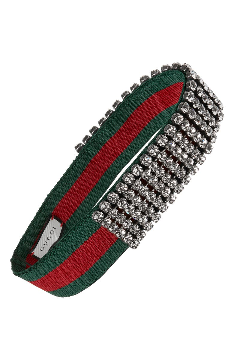 GUCCI Webby Crystal Headband, Main, color, 3074 DARK GREEN BOTTLE/ RED