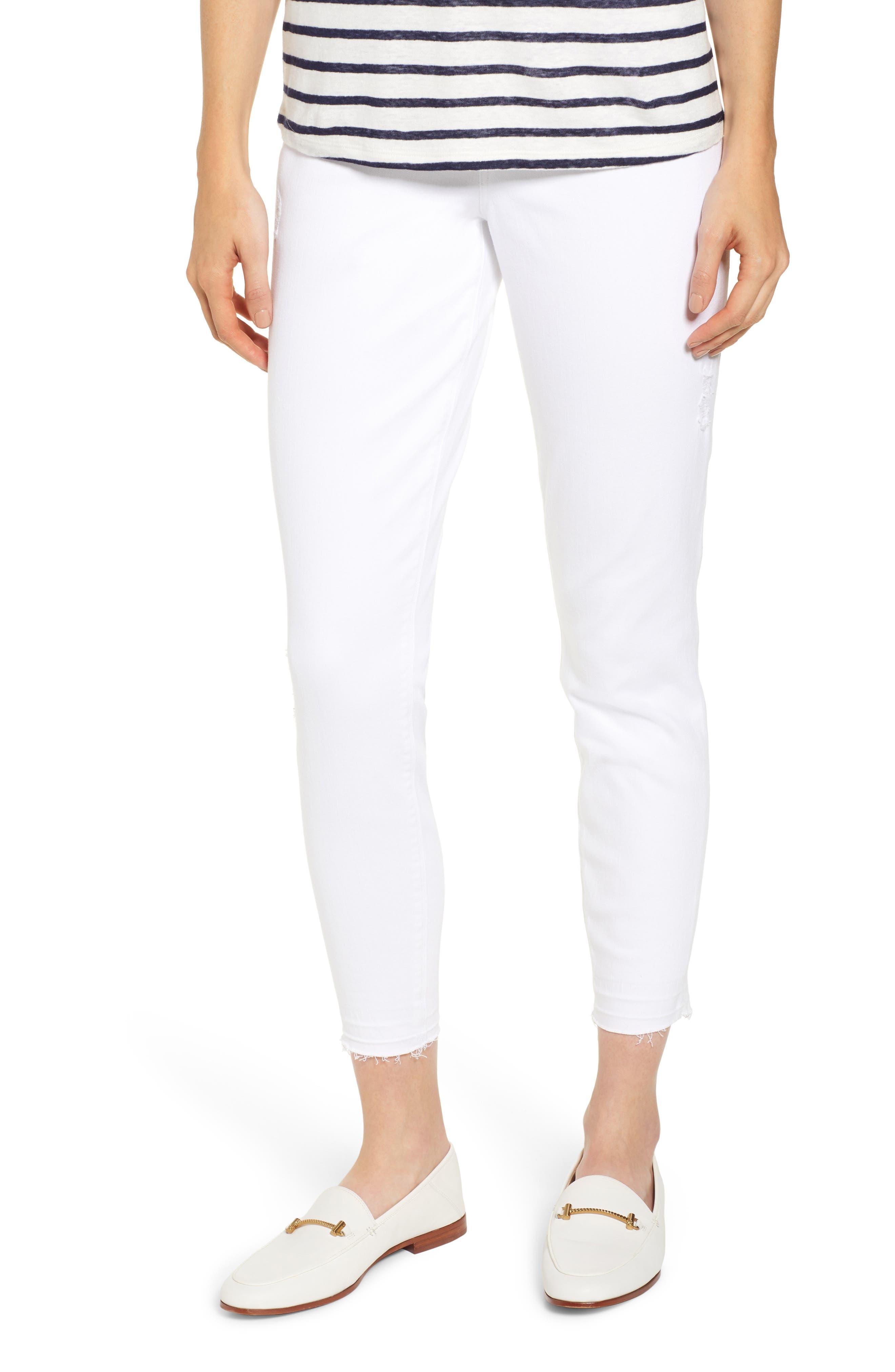 Distressed Denim Leggings, Main, color, WHITE
