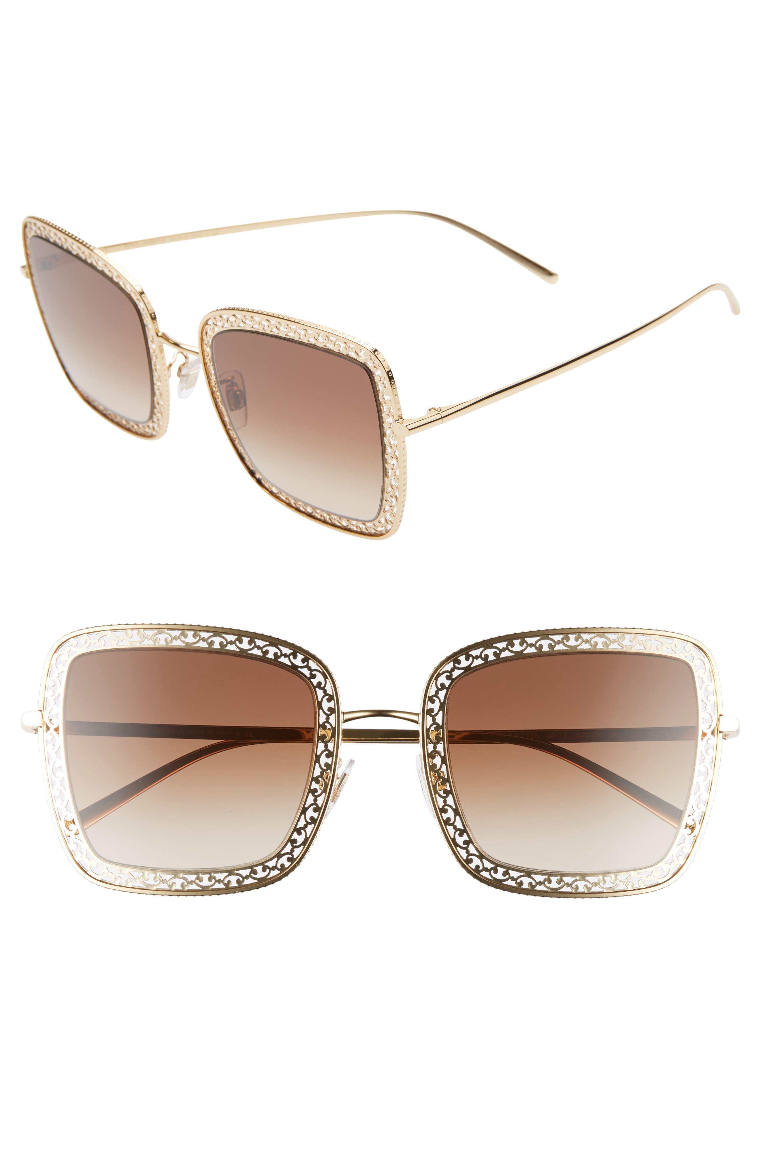 Dolce & gabbana 52Mm Square Sunglasses - Gold/ Brown