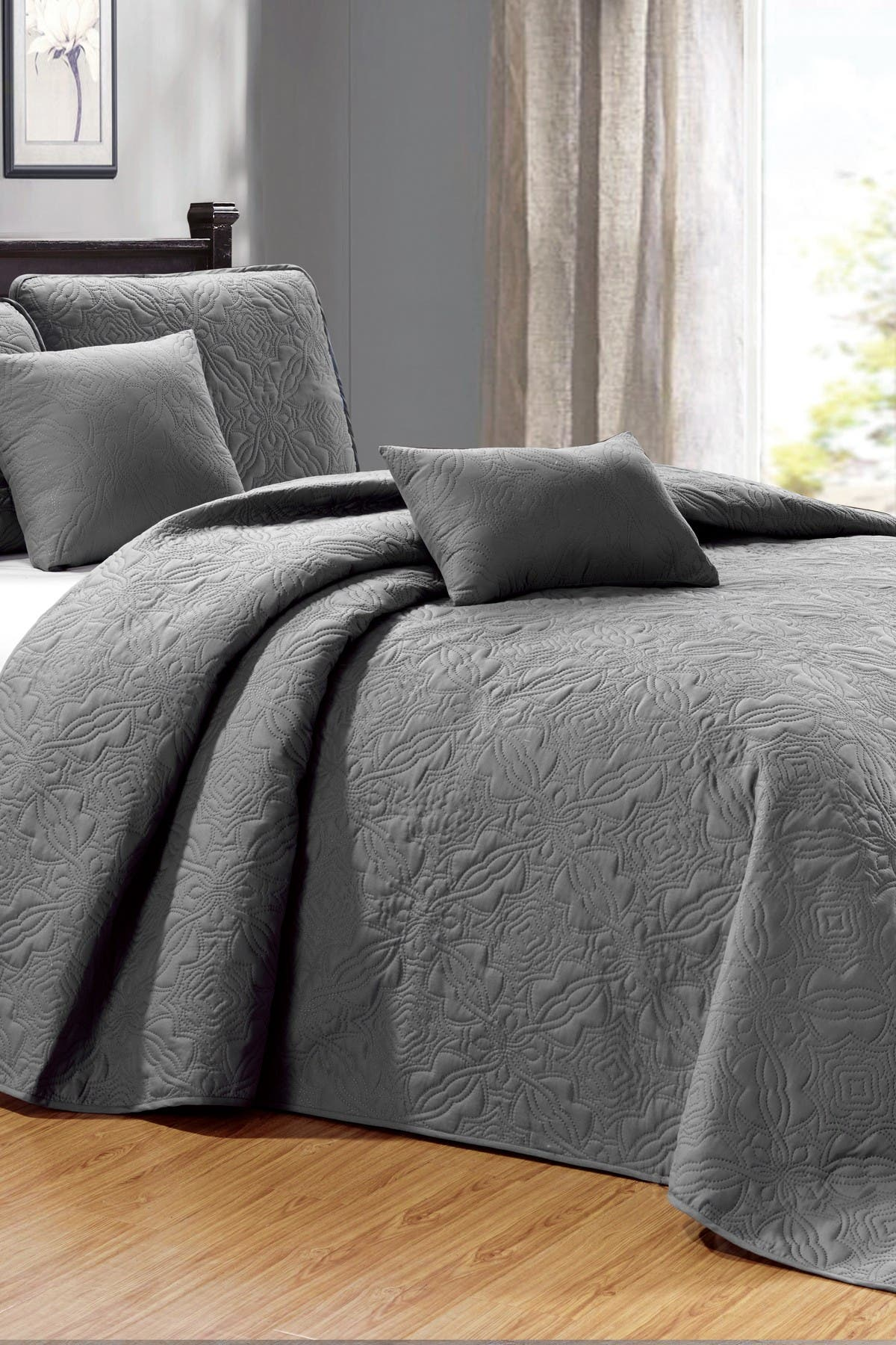 Image of Duck River Textile Carlotta 5-Piece Queen Bedspread Set - Grey