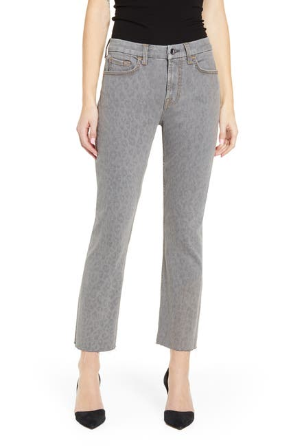 Image of Jen7 by 7 For All Mankind Leopard Ankle Straight Jeans