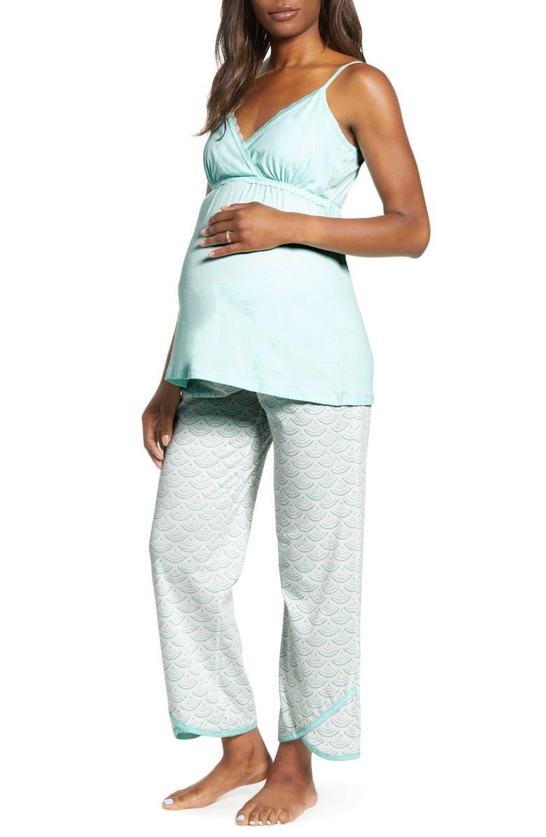 BELABUMBUM Maternity/Nursing Pajamas, Main, color, AQUA WATER PRINT