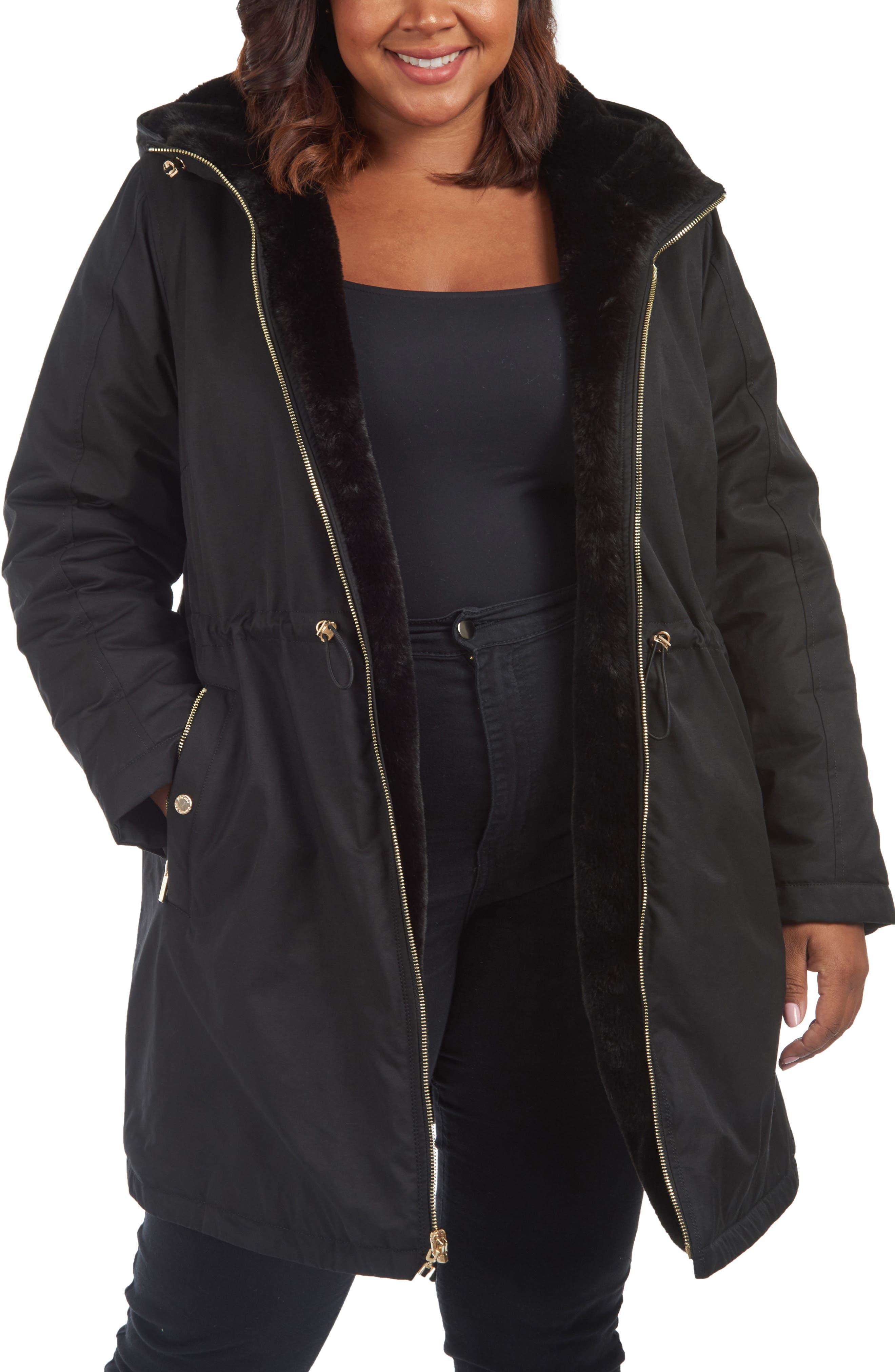 RACHEL Rachel Roy Reversible Rain Parka with Faux Fur (Plus Size)