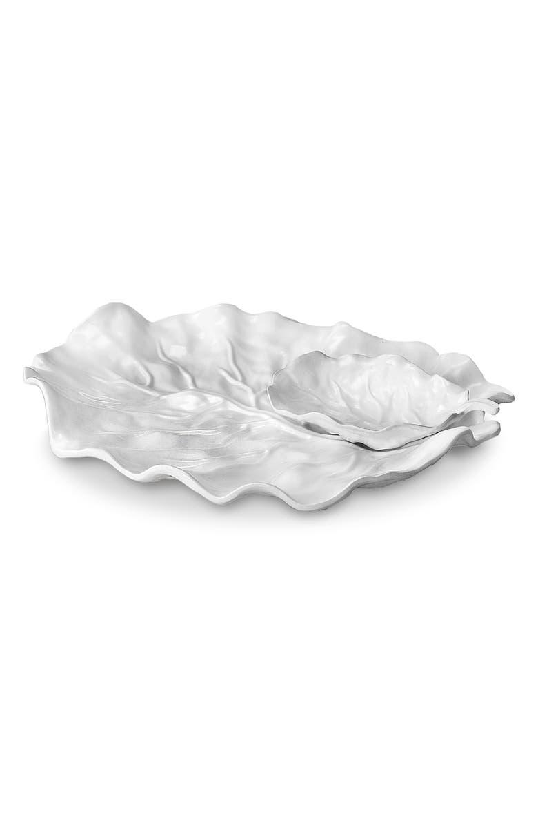 BEATRIZ BALL COLLECTION Vida Lettuce Leaf Chip & Dip Server, Main, color, WHITE