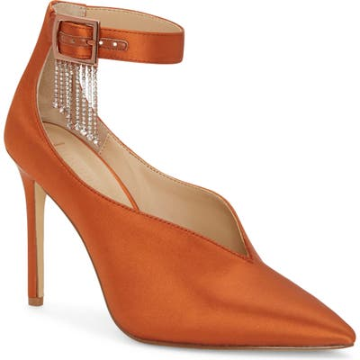 Imagine By Vince Camuto Greer Crystal Chain Pointed Toe Pump, Orange
