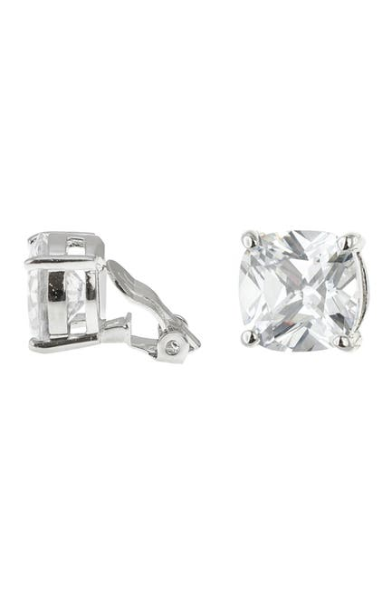 Image of CZ By Kenneth Jay Lane Cushion CZ Clip-On Earrings