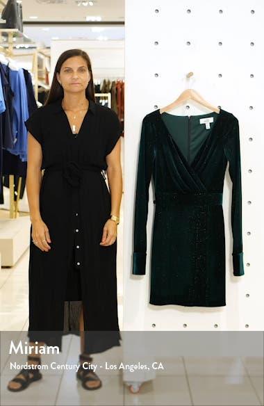 Mark + James Badgley Mischka Metallic Stripe Long Sleeve Velvet Dress, sales video thumbnail