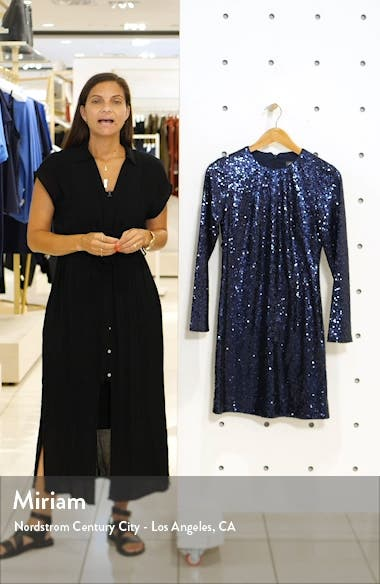 Long Sleeve Sequin Sheath Dress, sales video thumbnail