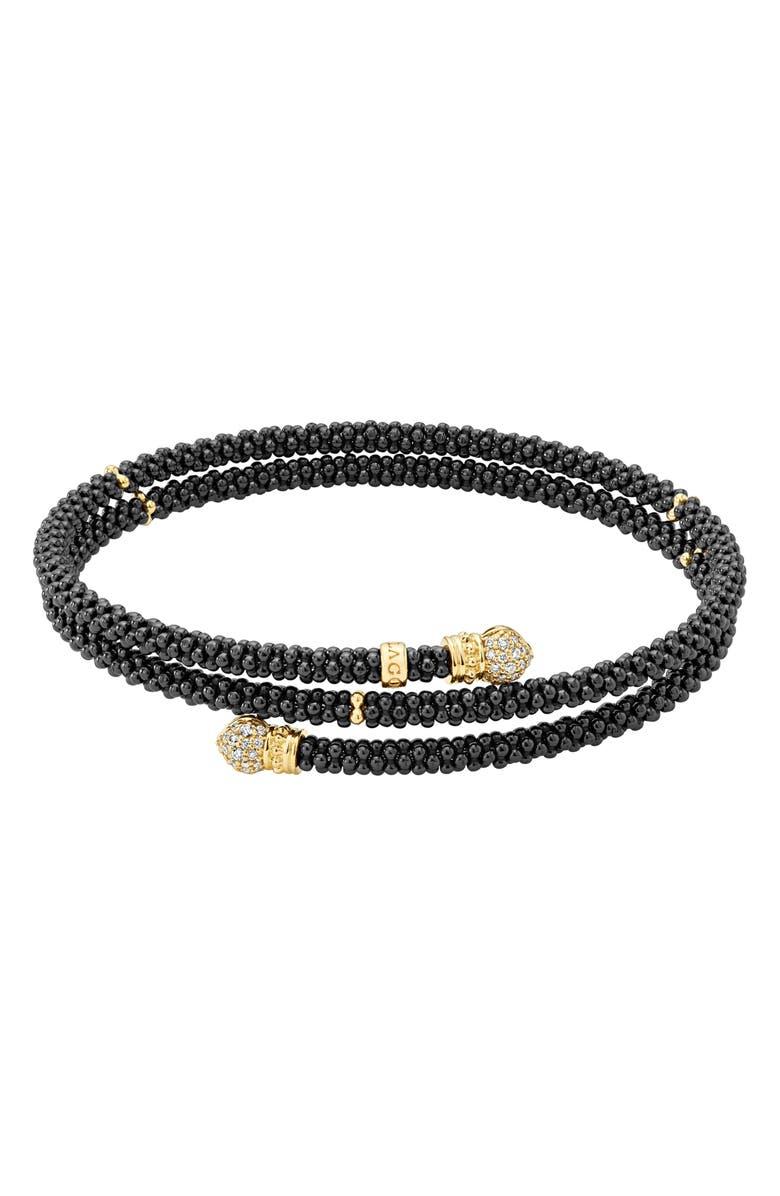 LAGOS Gold & Black Caviar Pavé Diamond Wrap Bracelet, Main, color, GOLD