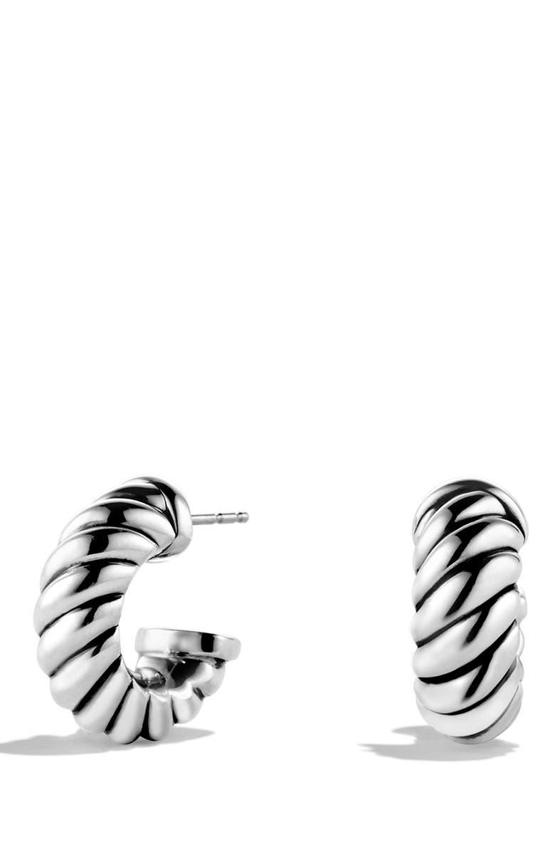 DAVID YURMAN 'Cable Classics' Shrimp Earrings, Main, color, SILVER