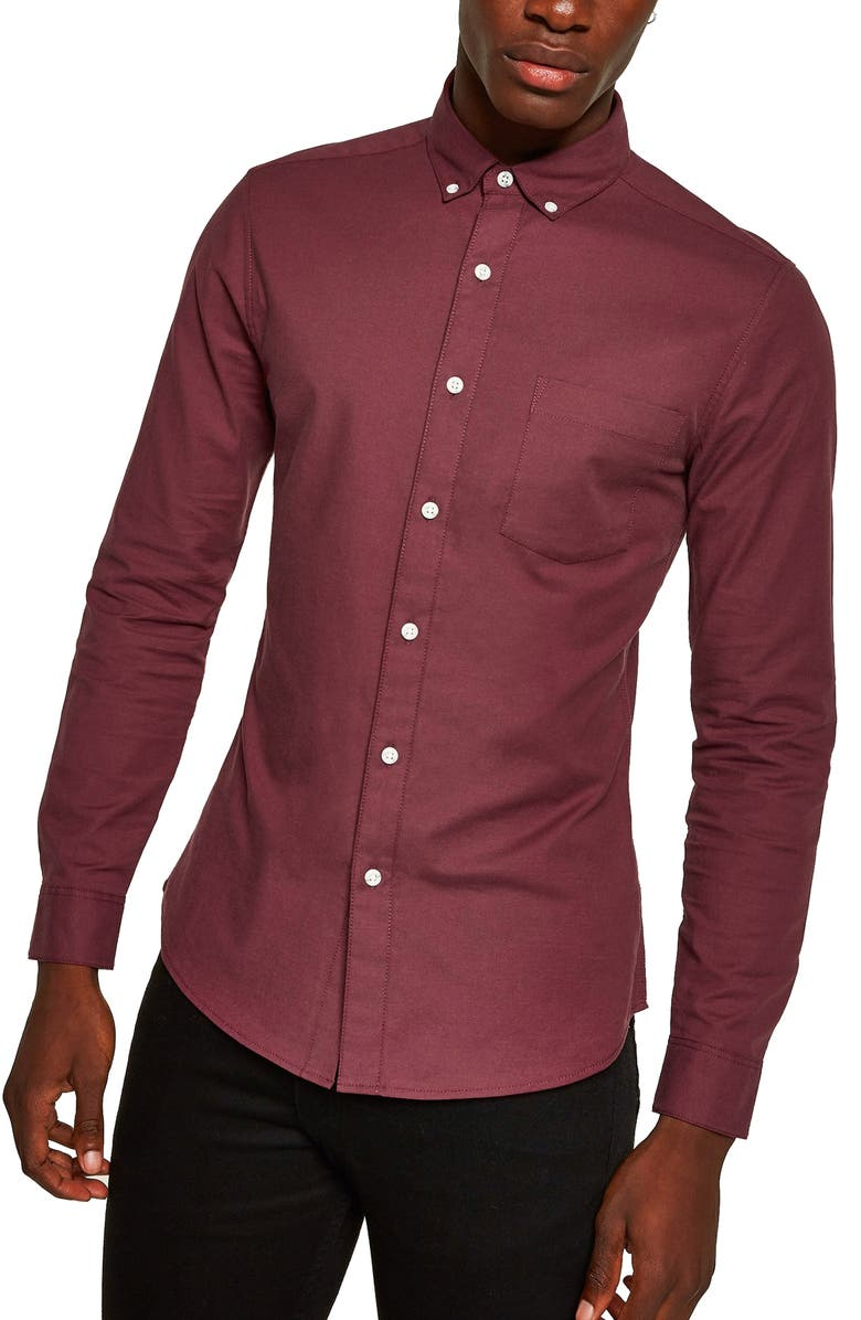 TOPMAN Skinny Fit Solid Button-Down Oxford Shirt, Main, color, BURGUNDY
