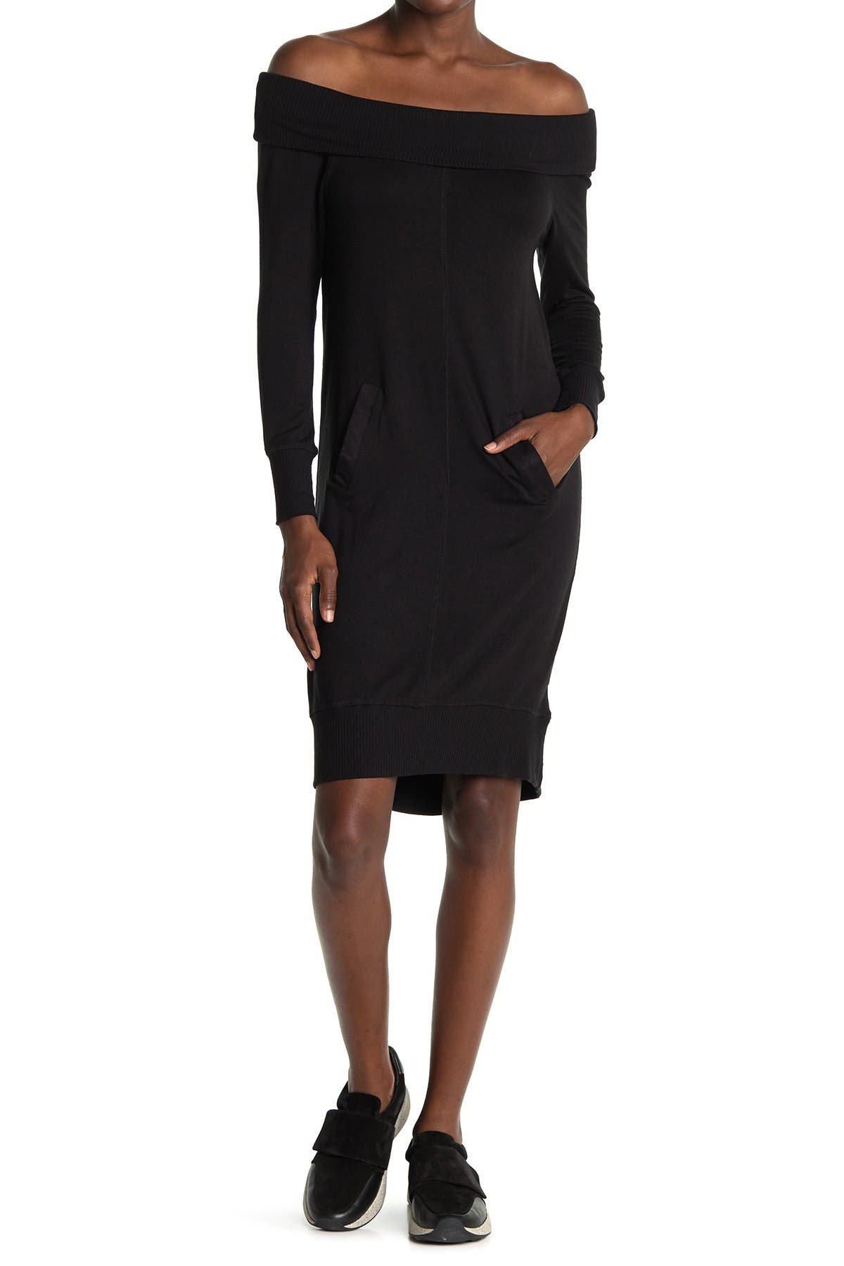 Image of 14TH PLACE Off-The-Shoulder Tunic Sweater Dress