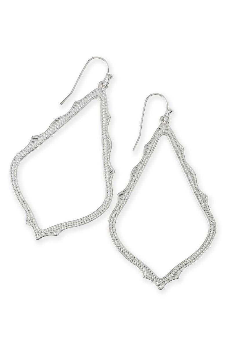 KENDRA SCOTT Sophee Textured Drop Earrings, Main, color, SILVER