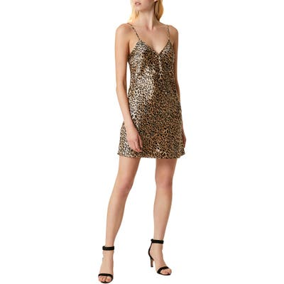French Connection Leopard Print Slipdress, Brown