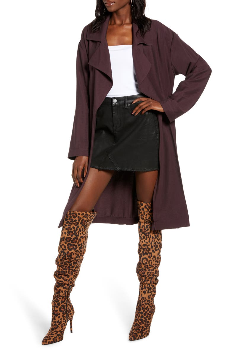 LEITH Soft Trench Coat, Main, color, BURGUNDY FUDGE