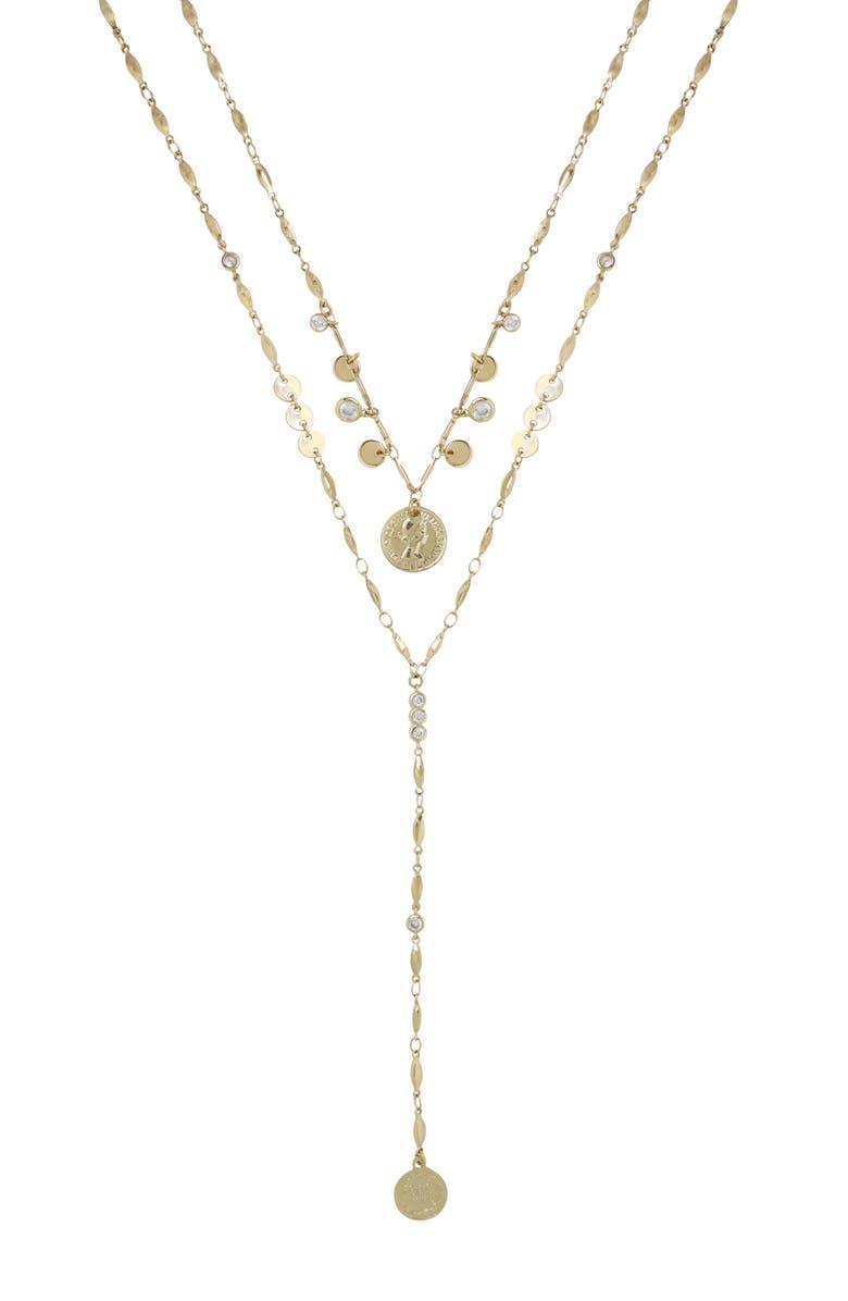 ETTIKA Set of 2 Coin Pendant Necklaces, Main, color, GOLD
