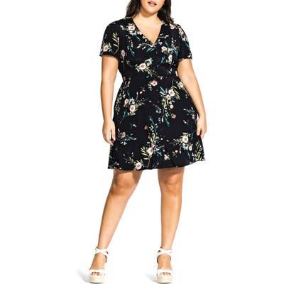 Plus Size City Chic Summer Sprig Dress, Black