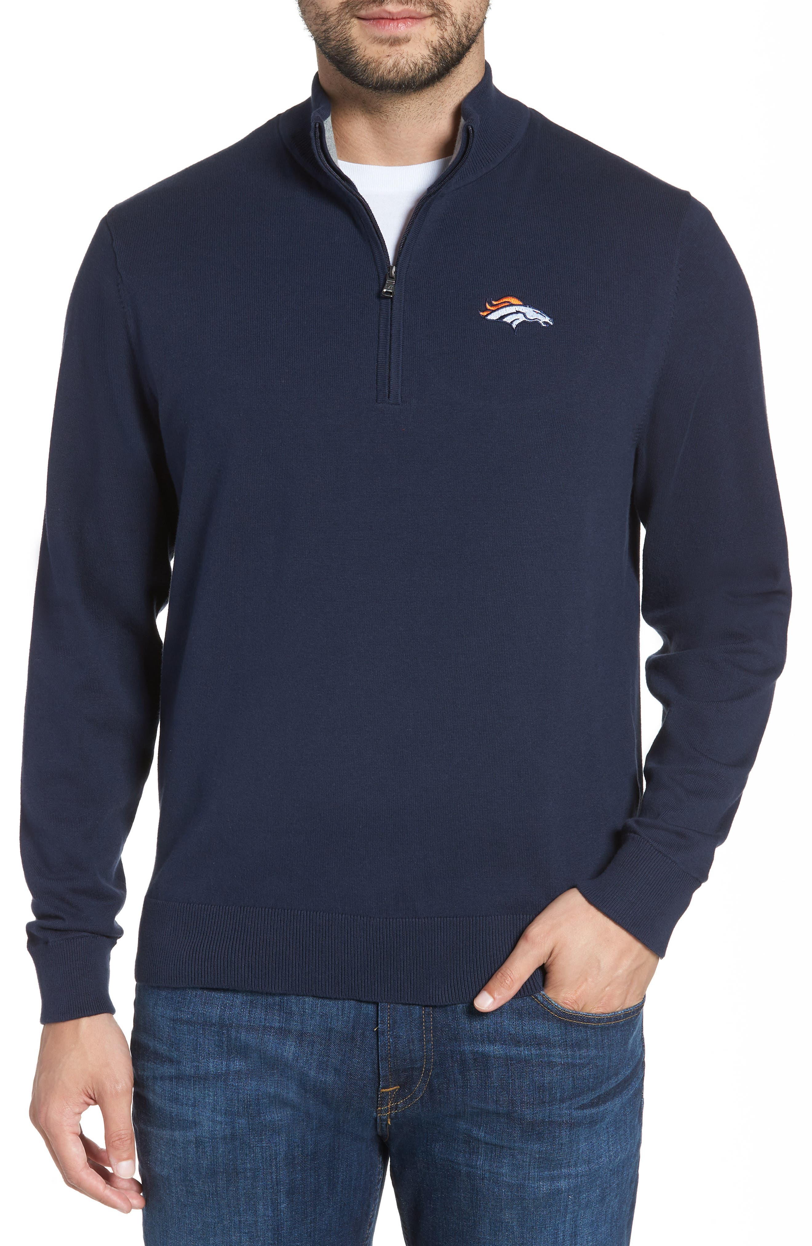 Look sharp from the office to the stadium in a mock-neck sweater that makes a handsome layering piece for brisk days. The lightweight jersey knit is reinforced at the collar and cuffs with double-layer ribbing for warmth and contrast. Style Name: Cutter & Buck Denver Broncos - Lakemont Regular Fit Quarter Zip Sweater. Style Number: 5631198. Available in stores.