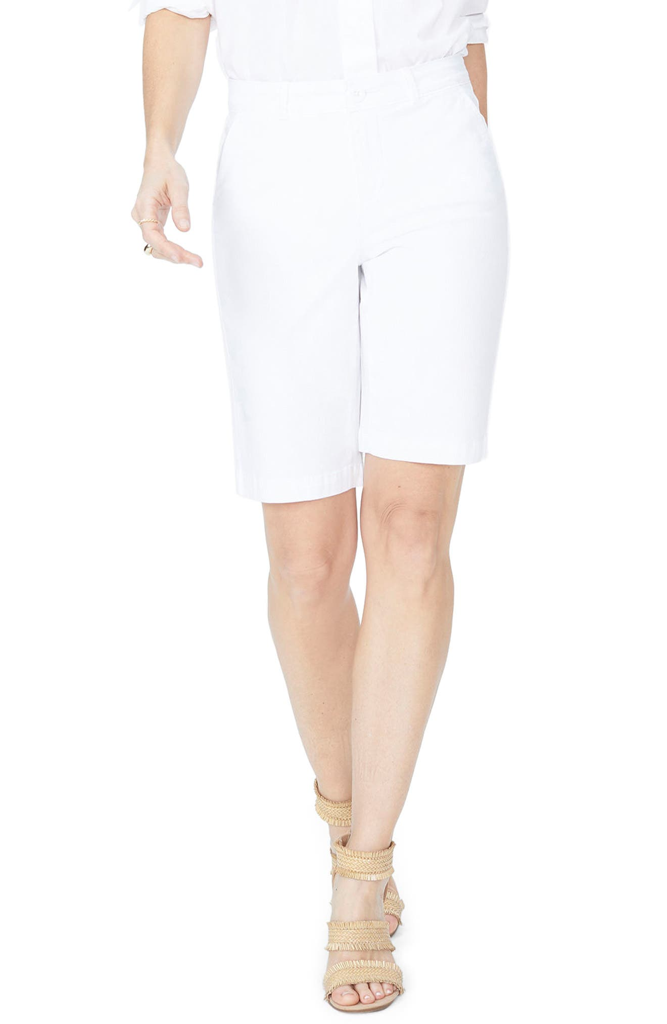 Petite Women's Nydj Stretch Twill Bermuda Shorts,  16P - White