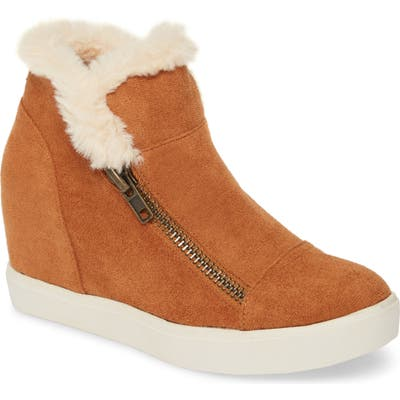 Coconuts By Matisse Later Days Faux Fur Wedge Sneaker- Brown