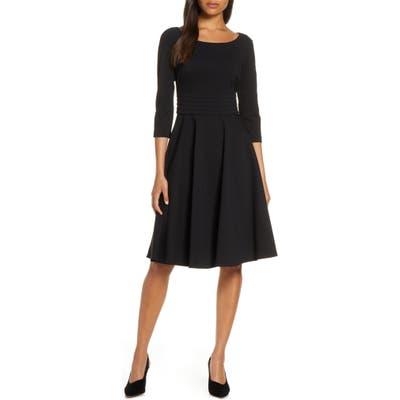 Harper Rose Pleated Fit & Flare Dress, Black