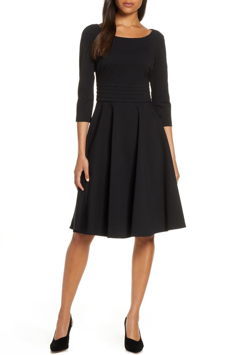 HARPER ROSE Pleated Fit & Flare Dress, Main, color, BLACK