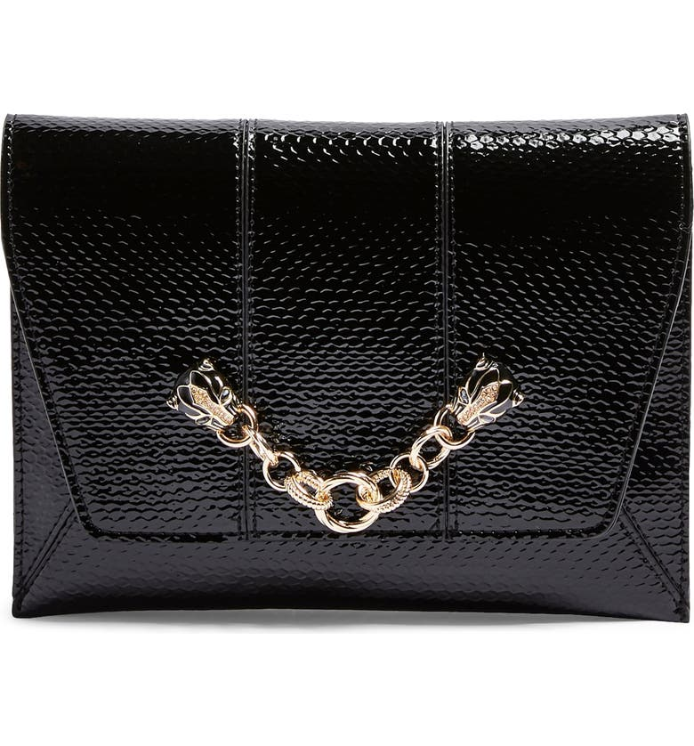 TOPSHOP Panther Chain Clutch Crossbody Bag, Main, color, BLACK