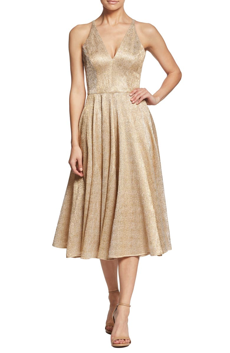 DRESS THE POPULATION Delilah Plunging A-Line Party Dress, Main, color, NUDE/ GOLD