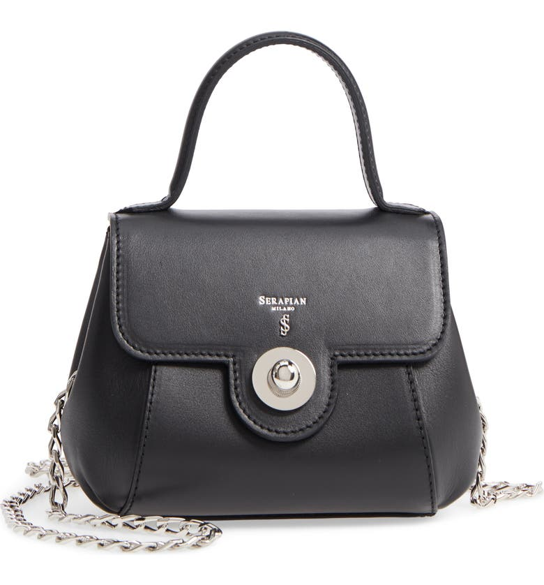 SERAPIAN MILANO Mini Gina Leather Top Handle Satchel, Main, color, 001