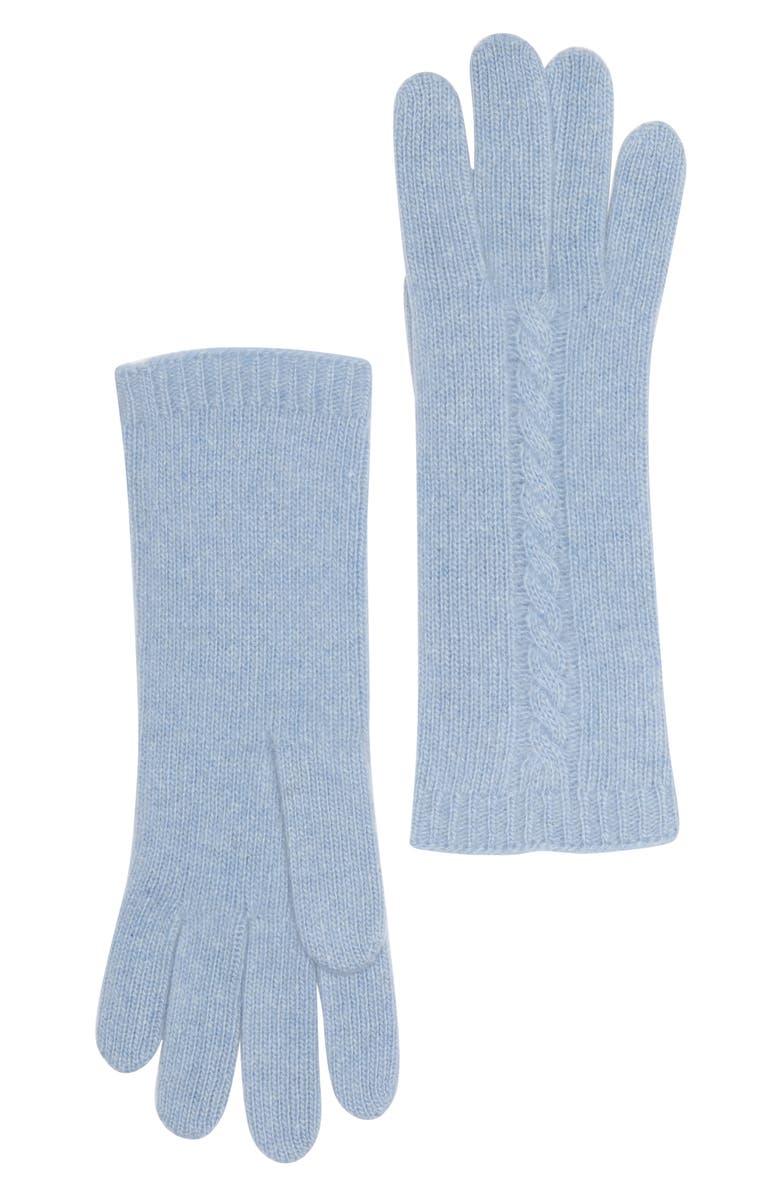 PORTOLANO Cable Knit Cashmere Gloves, Main, color, BABY BLUE