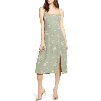 Row A Retro Floral Print Side Slit Midi Sundress, Green