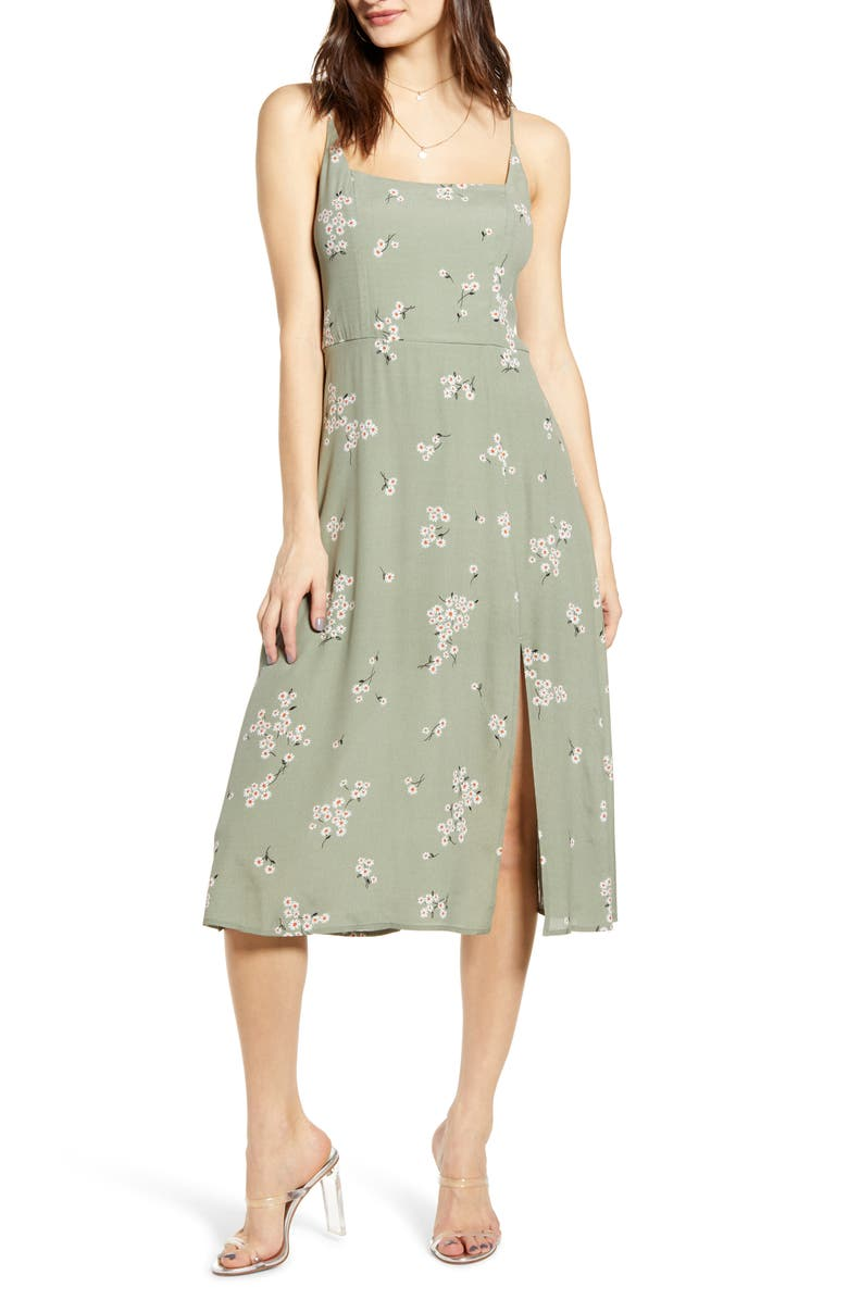 ROW A Retro Floral Print Side Slit Midi Sundress, Main, color, MOSS GREEN