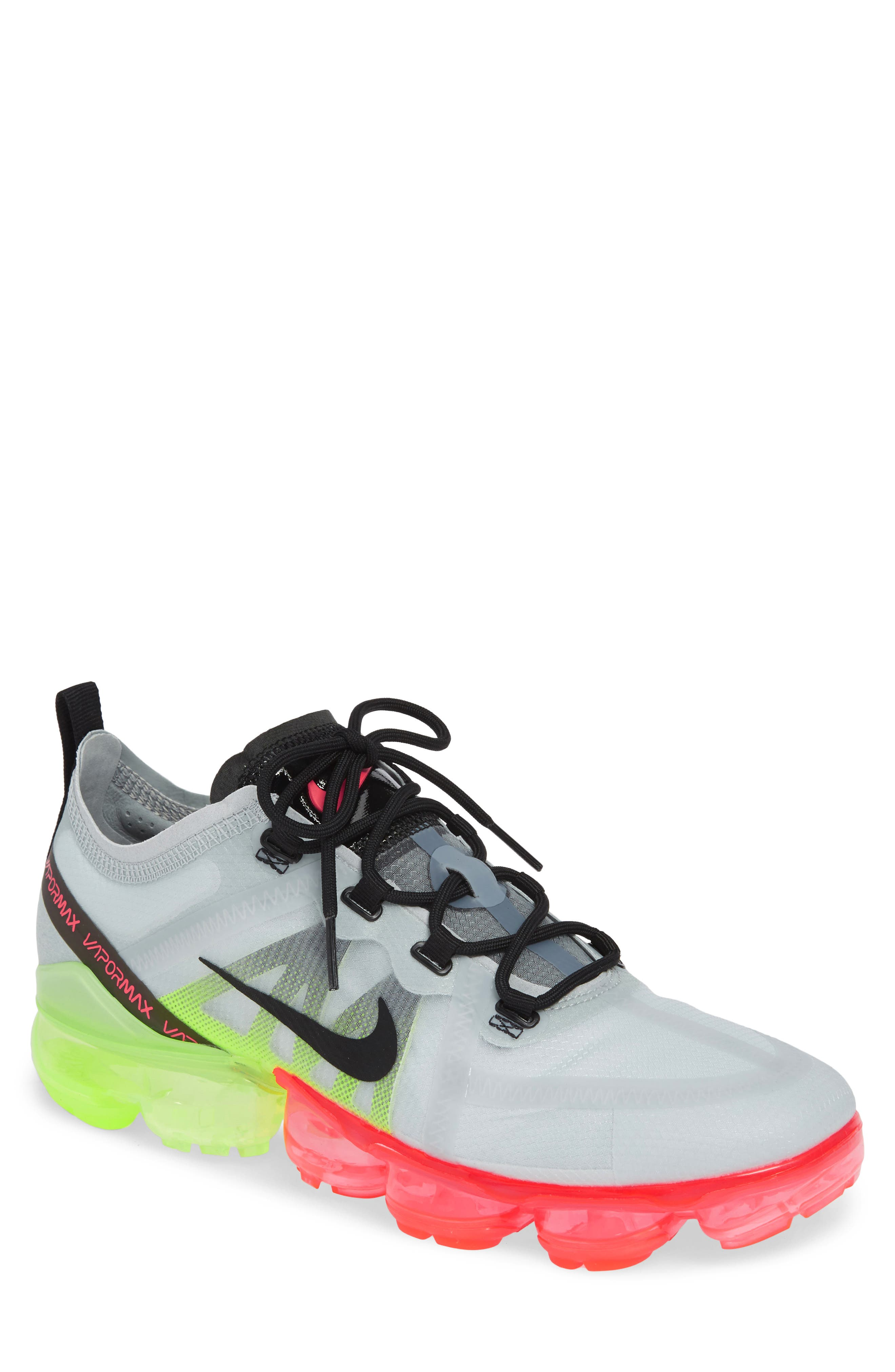 ,                             Air VaporMax 2019 Running Shoe,                             Main thumbnail 1, color,                             PURE PLATINUM/ BLACK/ VOLT