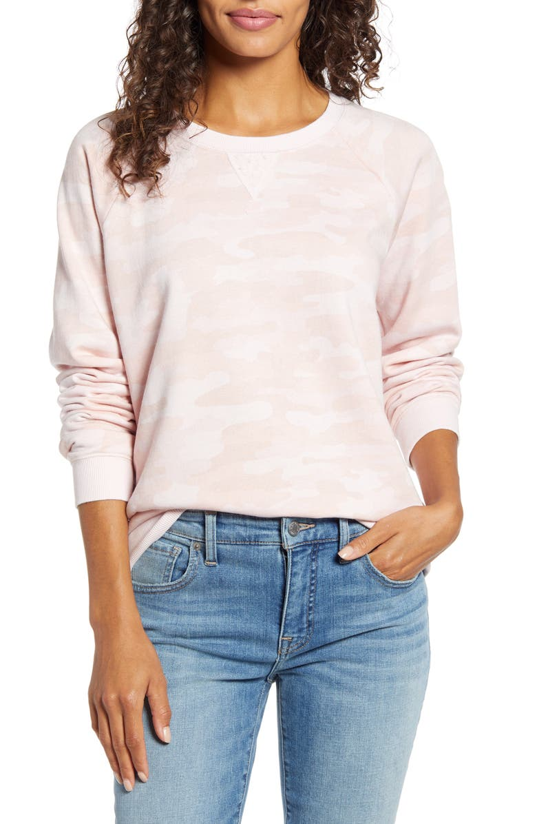LUCKY BRAND Classic Crewneck Sweatshirt, Main, color, PINK MULTI