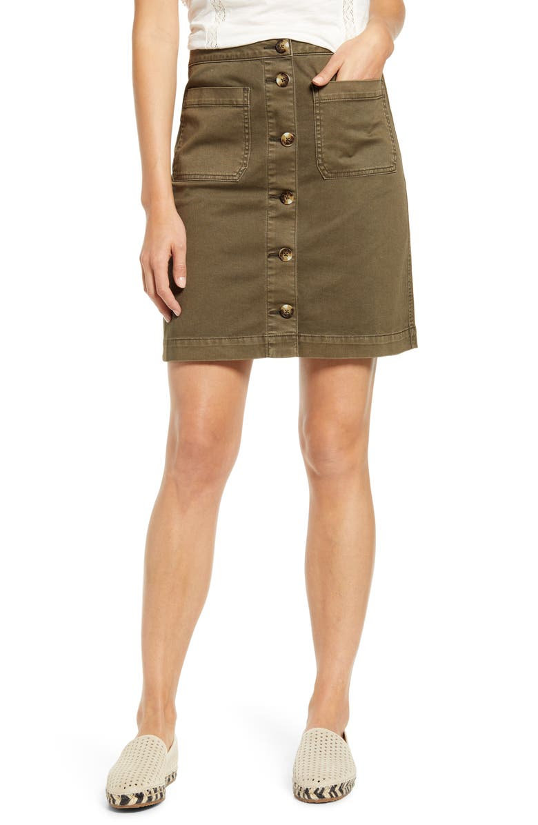 CASLON<SUP>®</SUP> Stretch Cotton Twill Skirt, Main, color, OLIVE TARMAC
