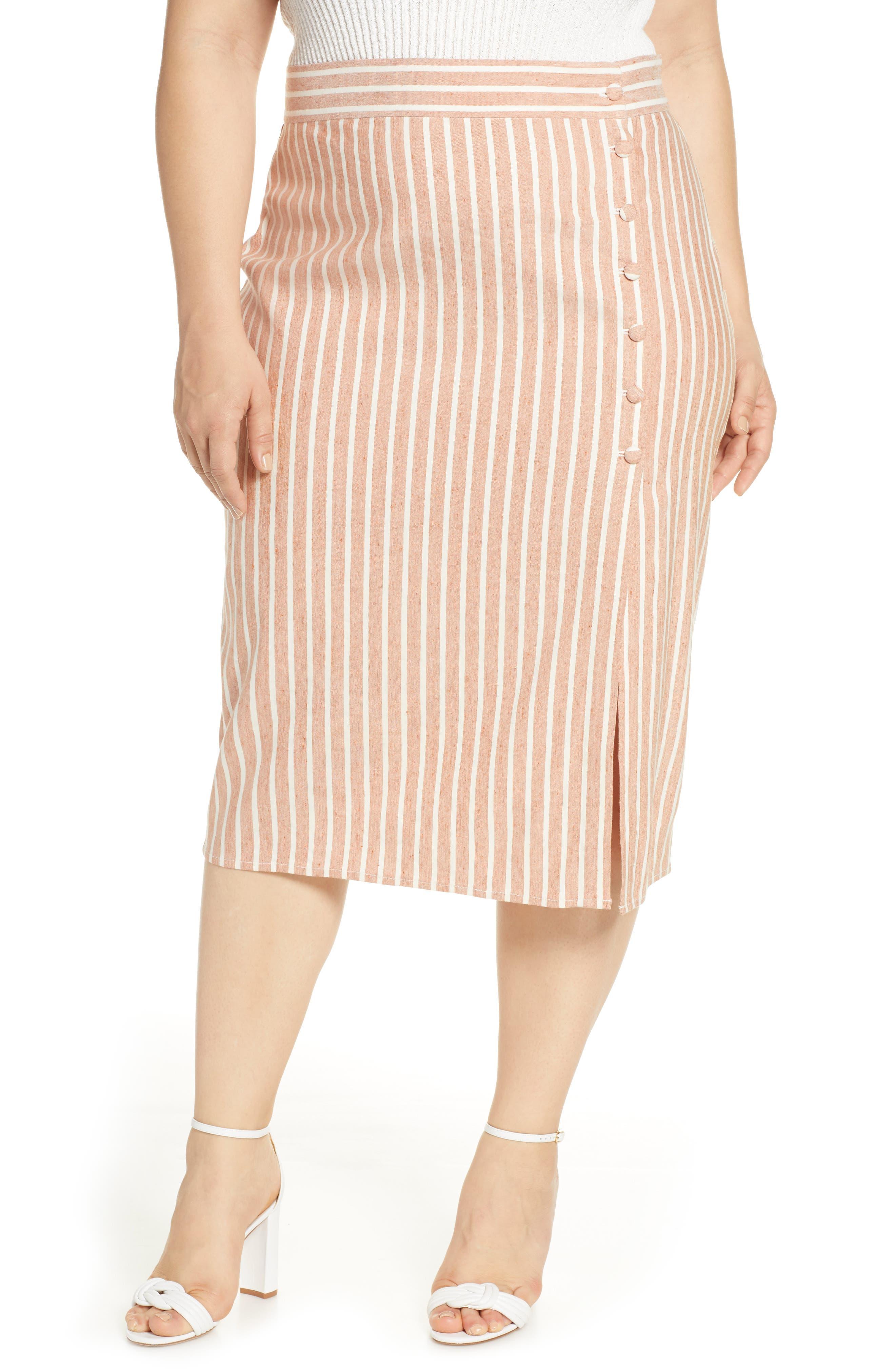Plus Size Leith Stripe Side Slit Linen Blend Midi Skirt, Brown