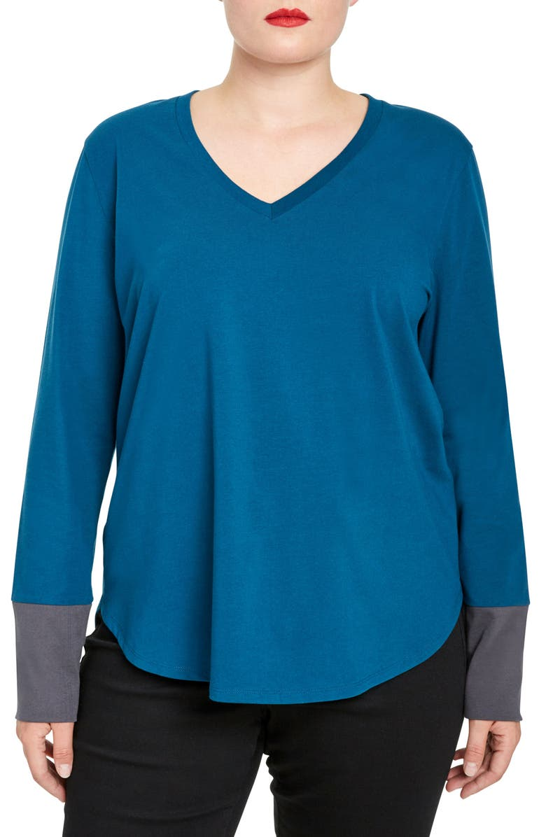 UNIVERSAL STANDARD Rhine Colorblock Cuff Top, Main, color, MARINE/ SLATE