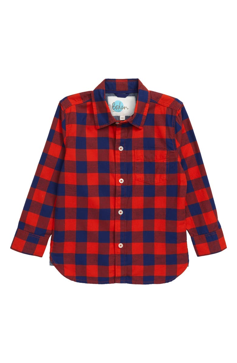 MINI BODEN Casual Check Twill Shirt, Main, color, ROCKET RED/ STARBOARD BLUE