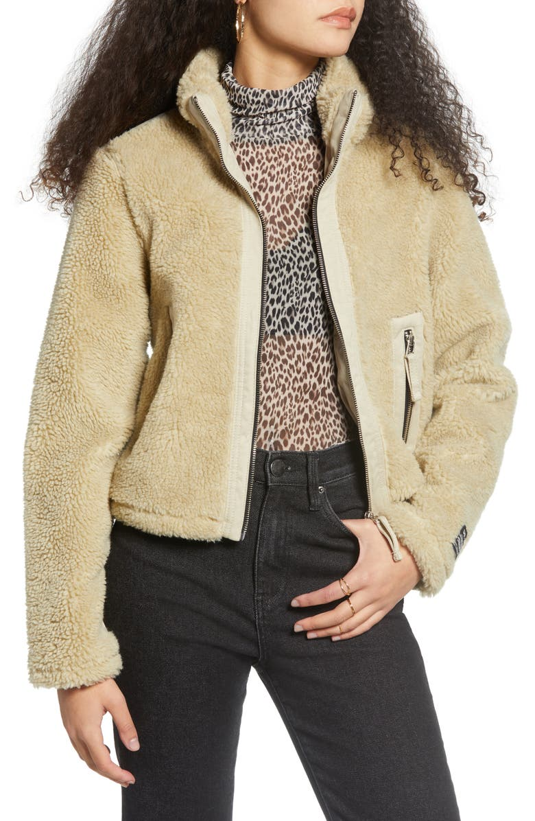 BDG URBAN OUTFITTERS Contrast Panel Fleece Jacket, Main, color, STONE