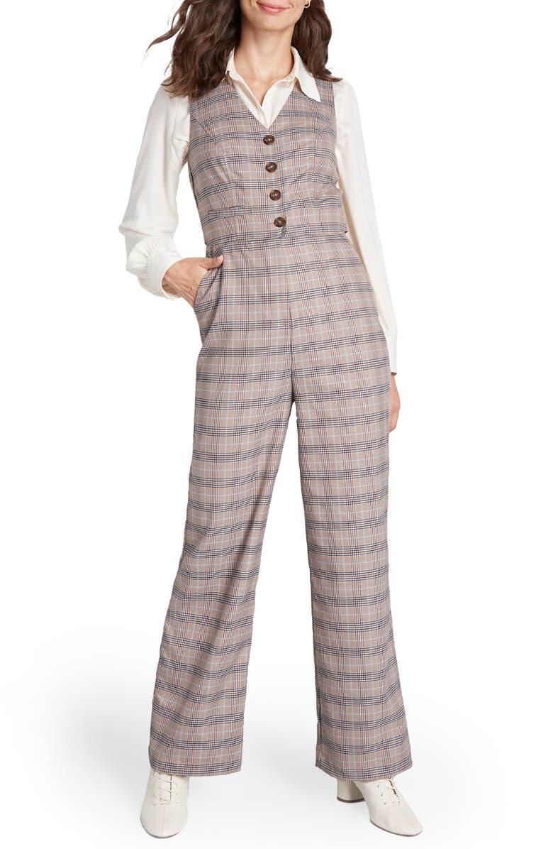 MODCLOTH Wide Leg Vest Jumpsuit, Main, color, TAN PLAID