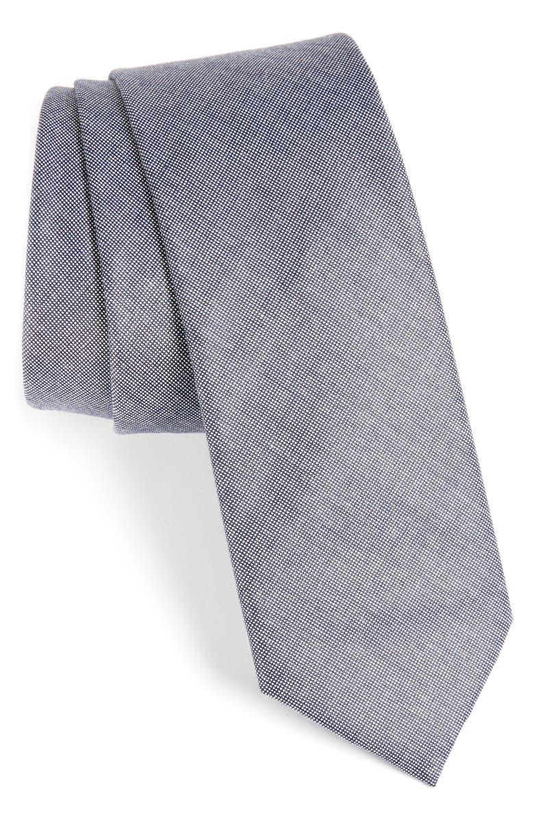1901 Solid Cotton Blend Tie, Main, color, NAVY