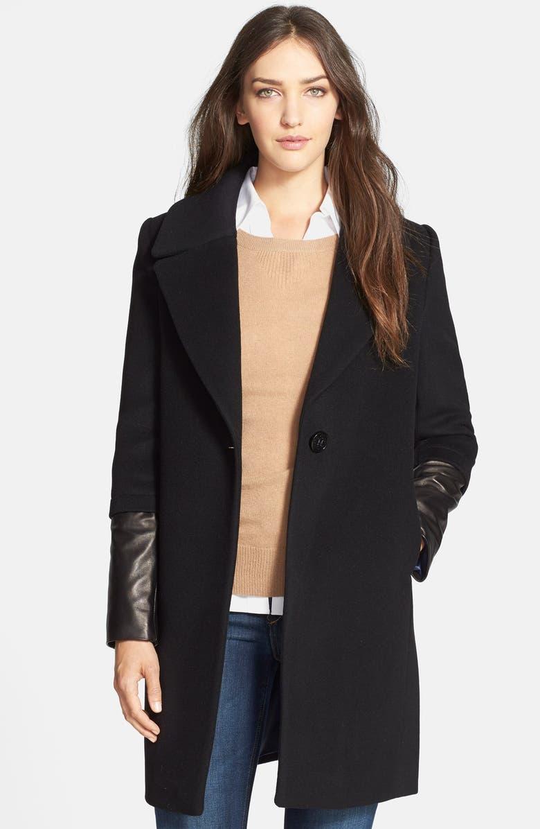 ELIE TAHARI 'Greece' Leather Sleeve Wool Coat, Main, color, 001