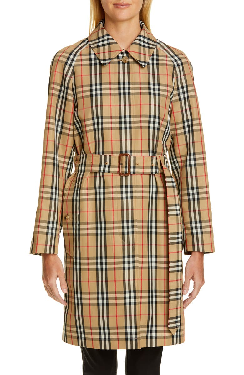 BURBERRY Vintage Check Car Coat, Main, color, ARCHIVE BEIGE IP CHK