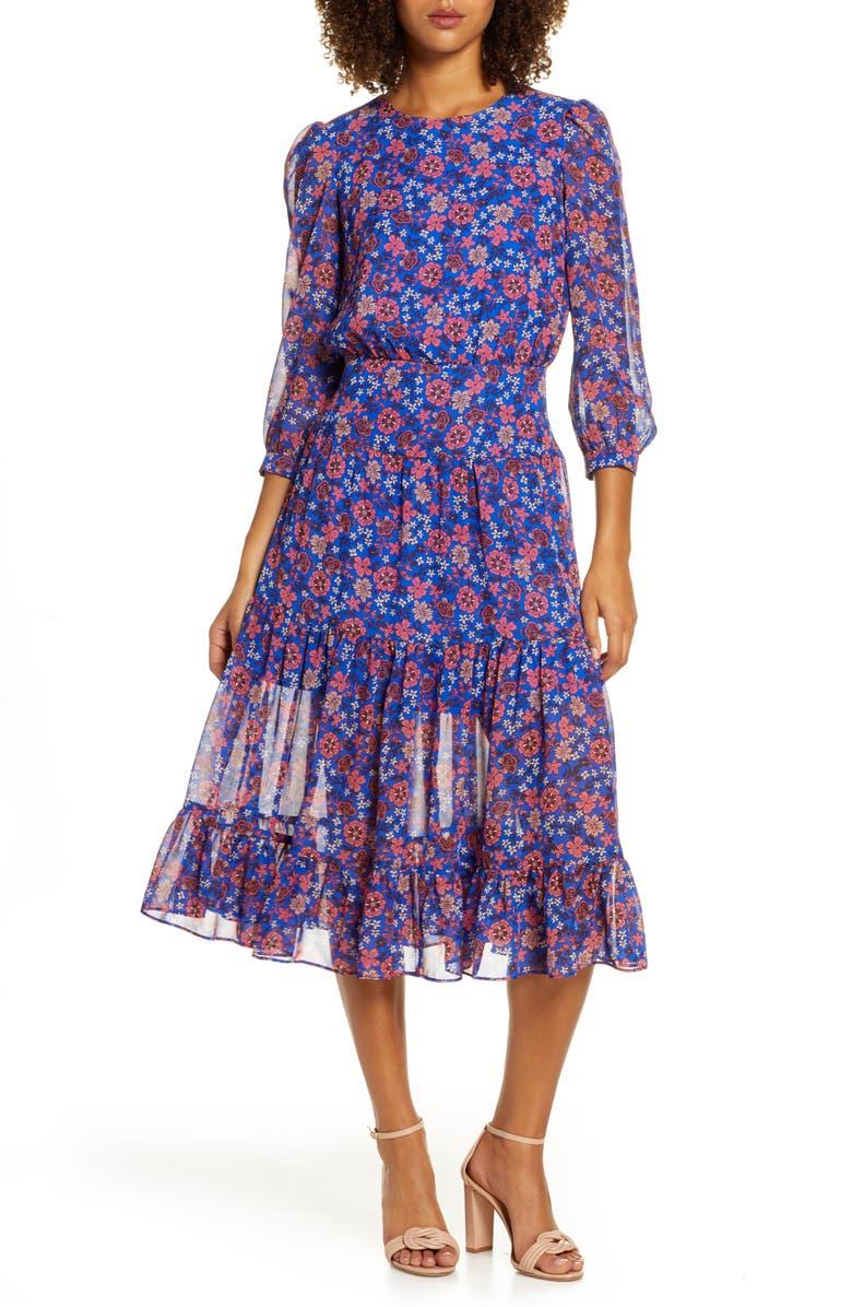 CHELSEA28 Floral Fit & Flare Midi Dress, Main, color, BLUE- PINK FLORAL